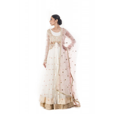 Anju Agarwal White and Gold Lehenga Set