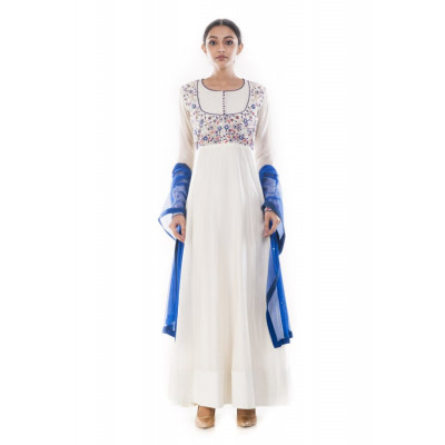 Anju Agarwal White Anarkali Suit Set